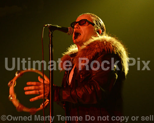 Photo of vocalist Ian Astbury of The Cult in concert in 2012 by Marty Temme