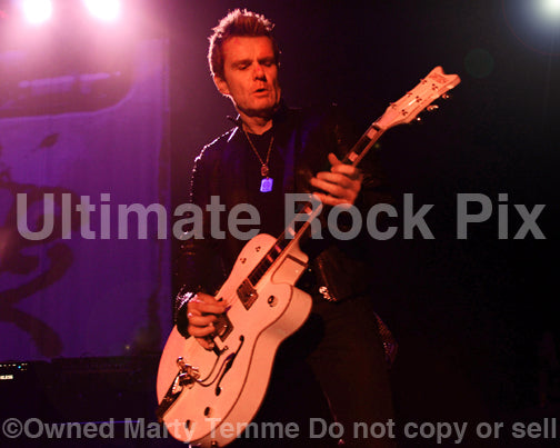 Photo of guitarist Billy Duffy of The Cult in concert in 2012 by Marty Temme