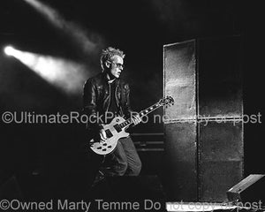 Black and White Photos of Guitarist Billy Duffy Playing His Natural Wood Top Gibson Les Paul Custom by Marty Temme