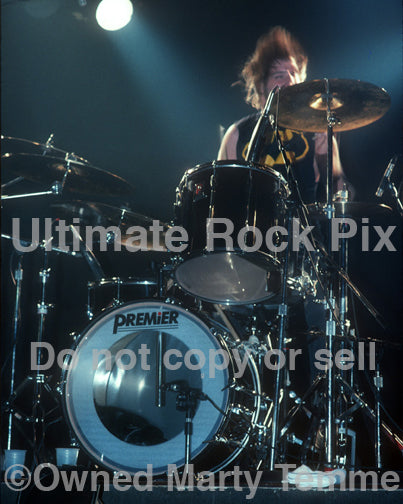 Photo of Chuck Biscuits of Danzig in concert in 1989 by Marty Temme