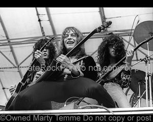 Photo of Danny Johnson, Rick Derringer and Kenny Aaronson of Derringer in concert in 1977 by Marty Temme