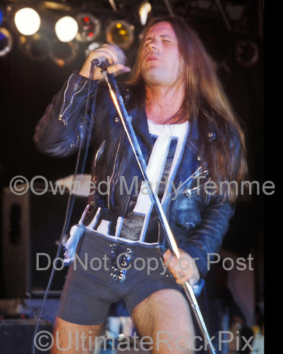 Photo of Bruce Dickinson of Iron Maiden onstage in 1994 in Los Angeles, California by Marty Temme