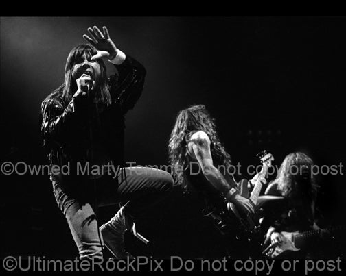 Black and white photo of Bruce Dickinson of Iron Maiden singing in concert in 1991 by Marty Temme