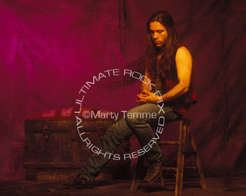Photo of Bruce Dickinson of Iron Maiden during a photo shoot in 1994 by Marty Temme