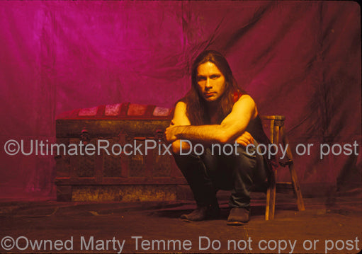 Photo of Bruce Dickinson of Iron Maiden during a photo session in 1994 by Marty Temme