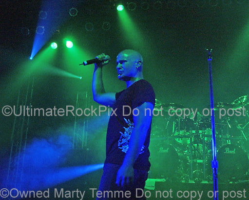 Photo of vocalist David Draiman of Disturbed in concert by Marty Temme