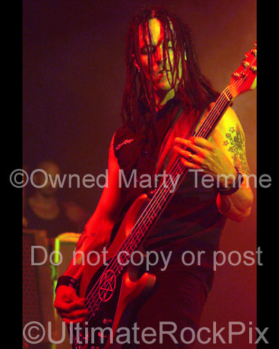 Photo of bassist John Moyer of Disturbed in concert by Marty Temme
