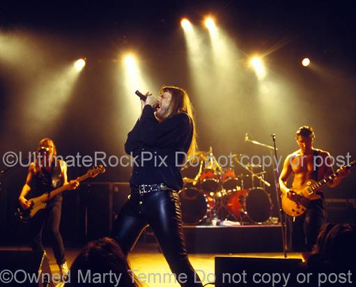 Photos of Don Dokken, Jeff Pilson and George Lynch of Dokken Performing in Concert in 1995 by Marty Temme
