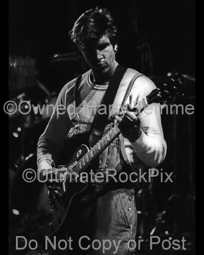 Black and white photo of George Lynch of Dokken in concert in 1995 by Marty Temme