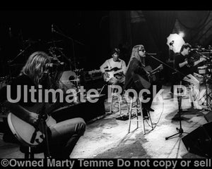 Black and white photo of Dokken during soundcheck in 1995 by Marty Temme