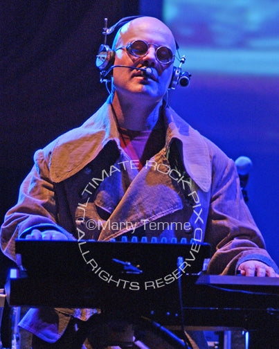 Photo of musician Thomas Dolby playing keyboards in concert