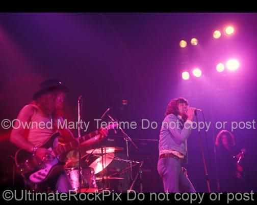 Photos of Roger Glover, Ian Gillan and Ritchie Blackmore of Deep Purple in Concert in 1972 by Marty Temme