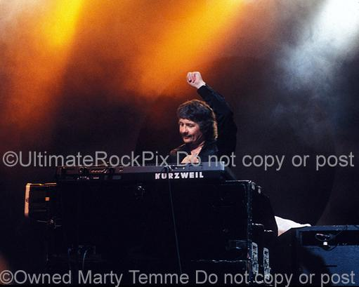 Photo of keyboardist Don Airey of Deep Purple in concert in 2001 by Marty Temme