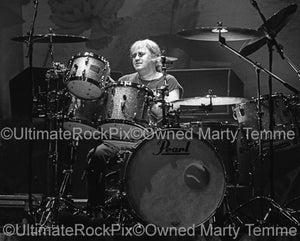 Black and white photo of Ian Paice of Deep Purple in concert in 2004 by Marty Temme
