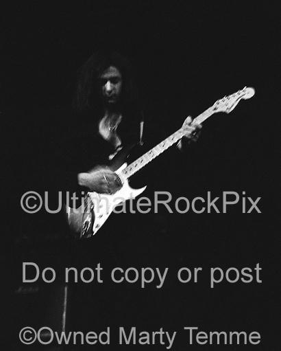 Photo of Ritchie Blackmore of Deep Purple in concert in 1972 by Marty Temme
