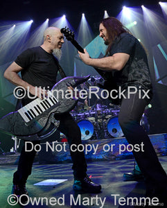 Photo of John Petrucci and Jordan Rudess of Dream Theater in concert in 2011 by Marty Temme