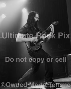 Black and white photo of John Petrucci of Dream Theater in concert by Marty Temme