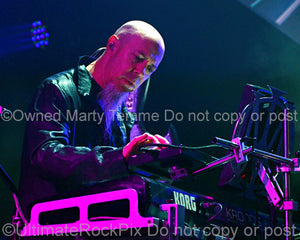 Photo of keyboardist Jordan Rudess of Dream Theater in concert in 2012 by Marty Temme