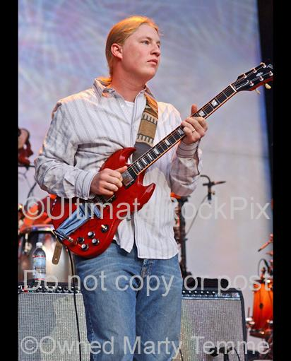 Photos of guitarist Derek Trucks of The Allman Brothers in concert by Marty Temme