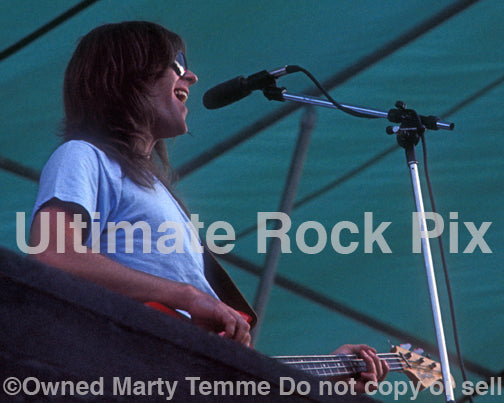 Photo of bass player and singer Randy Meisner of The Eagles in concert in 1974 by Marty Temme
