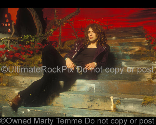 Photo of Conny Bloom of Electric Boys during a photo shoot in 1992 by Marty Temme