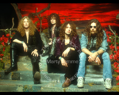 Photo of the rock band Electric Boys during a photo shoot in 1992 by Marty Temme
