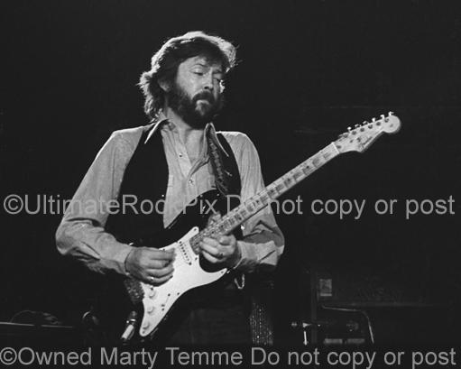 Black and White Photos of Guitarist Eric Clapton in Concert in 1979 by Marty Temme