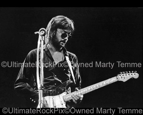 Black and White Photos of Guitarist Eric Clapton in Concert in 1974 by Marty Temme