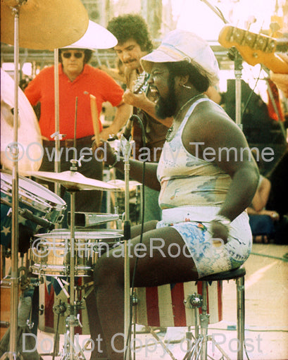 Photo of drummer Buddy Miles of Electric Flag in 1974 by Marty Temme