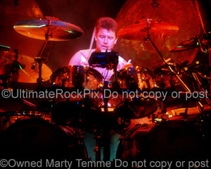 Photo of drummer Carl Palmer of Emerson, Lake & Palmer and Asia in 1992 by Marty Temme