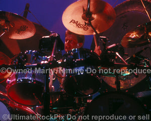 Photo of drummer Carl Palmer of Emerson, Lake & Palmer in concert in 1992 by Marty Temme