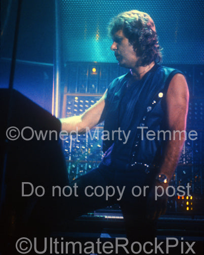 Photo of Keith Emerson of Emerson, Lake & Palmer in concert in 1992 by Marty Temme