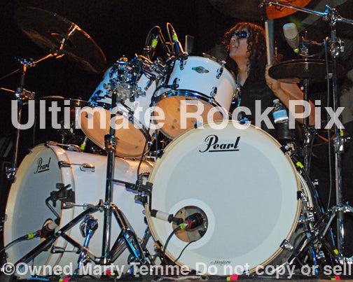 Photo of drummer Robert Ortiz of Escape the Fate in concert in 2010 by Marty Temme