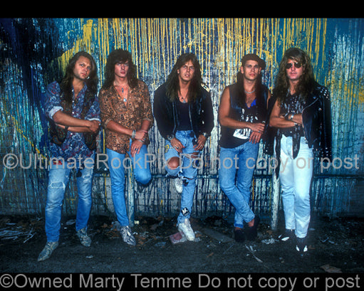 Photo of Joey Tempest and the band Europe during a photo shoot in 1989 by Marty Temme