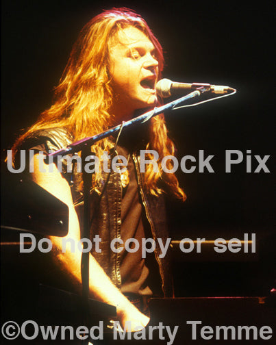Photo of keyboardist Mic Michaeli of Europe in concert in 1989 by Marty Temme