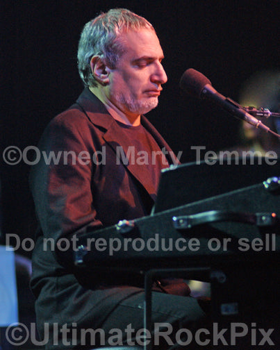 Photo of musician Donald Fagen of Steely Dan performing in concert by Marty Temme