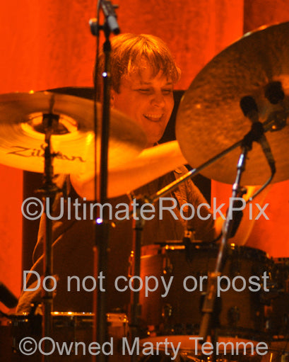 Photo of drummer Keith Carlock of Steely Dan in concert by Marty Temme