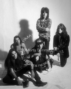 Black and white photo of Faster Pussycat in 1990 by Marty Temme