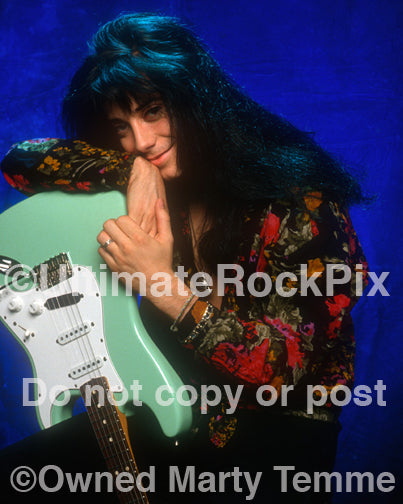 Photo of Brent Muscat of Faster Pussycat during a photo shoot in 1990 by Marty Temme
