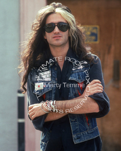 Photo of guitarist Marc Ferrari during a photo shoot in 1990 by Marty Temme