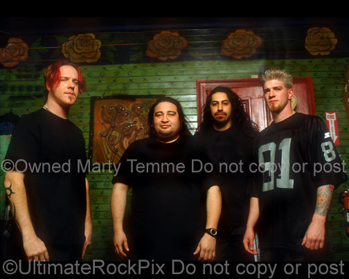 Photo of the band Fear Factory during a photo shoot in 2001 by Marty Temme