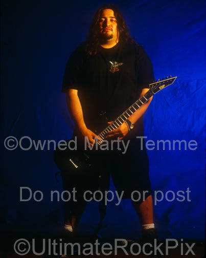 Photo of Dino Cazares of Fear Factory during a photo shoot in 1995 by Marty Temme
