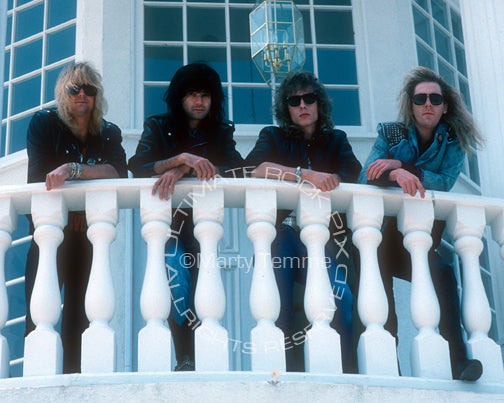 Photo of the band Fifth Angel during a photo shoot in 1989 by Marty Temme