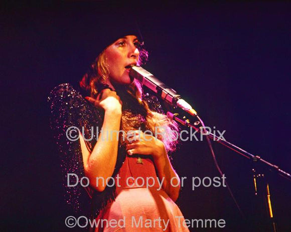 Photos of vocalist Stevie Nicks of Fleetwood Mac inconcert in 1978 by Marty Temme