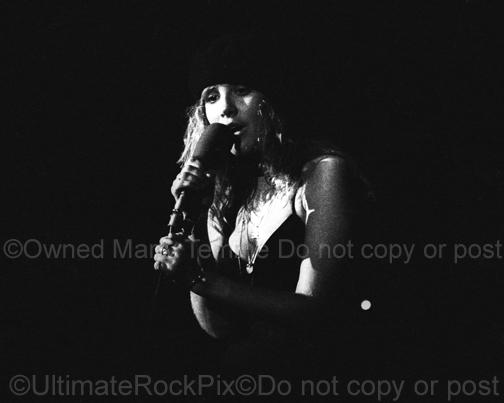 Black and White Photos of Singer Stevie Nicks of Fleetwood Mac in Concert in 1977 by Marty Temme