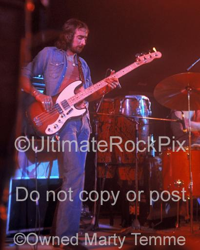 Photos of Bass Player John McVie in Concert in 1973 by Marty Temme