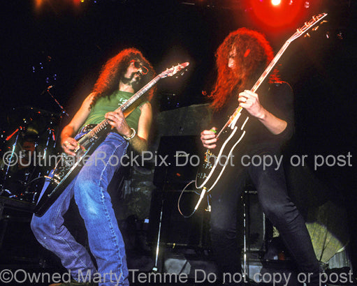 Photo of Kirk Hammett of Metallica and Jim Martin of Faith No More in 1989 by Marty Temme