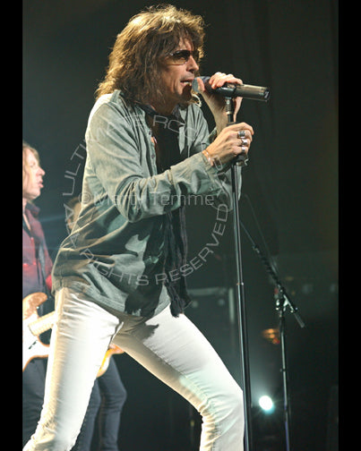 Photo of singer Kelly Hansen of Foreigner performing in concert by Marty Temme