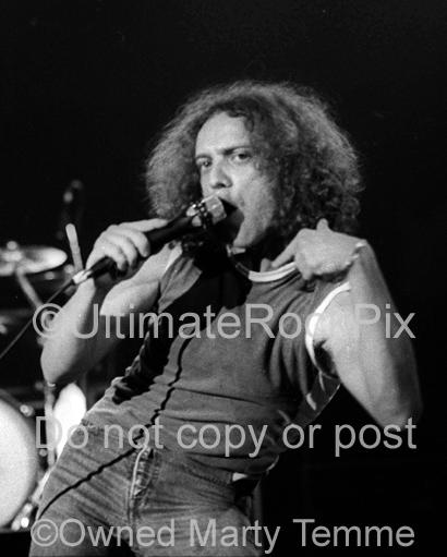 Photos of Singer Lou Gramm of Foreigner Performing in Concert in 1979 by Marty Temme