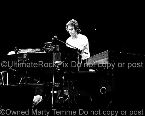 Photo of keyboardist Tony Banks of Genesis in concert in 1978 by Marty Temme